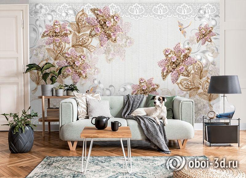 3D Фотообои «Розовые драгоценные цветы» вид 8
