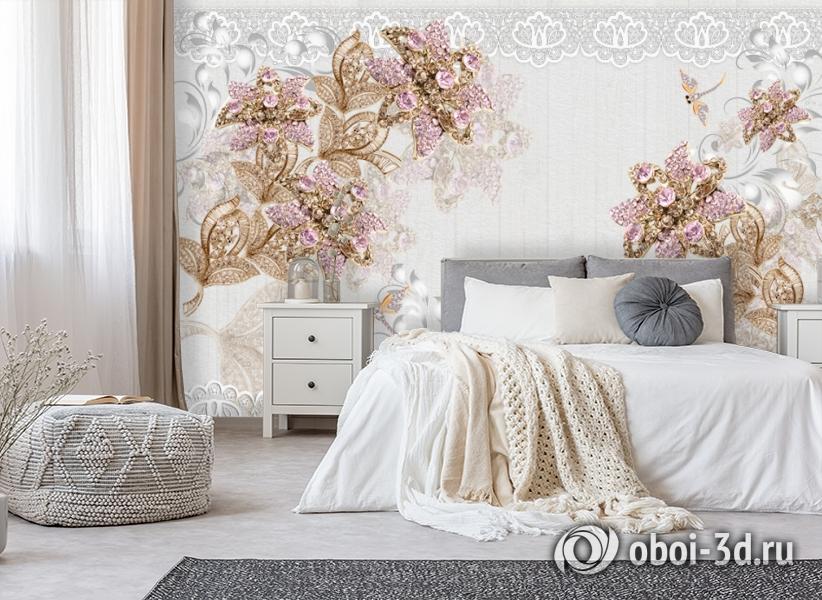 3D Фотообои «Розовые драгоценные цветы» вид 6