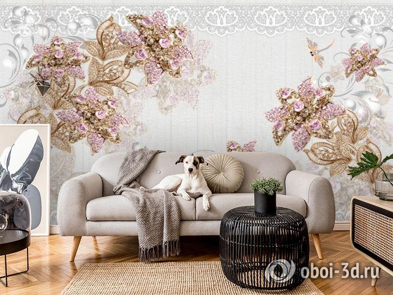 3D Фотообои «Розовые драгоценные цветы» вид 5