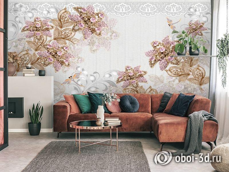 3D Фотообои «Розовые драгоценные цветы» вид 4