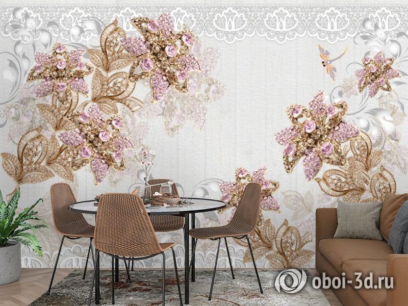 3D Фотообои «Розовые драгоценные цветы» вид 3