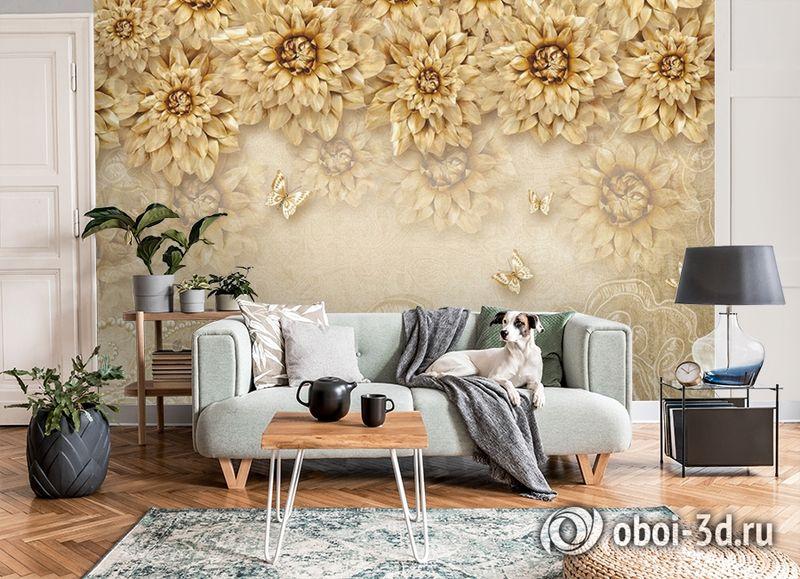 3D Фотообои «Инсталляция с золотыми цветами» вид 8