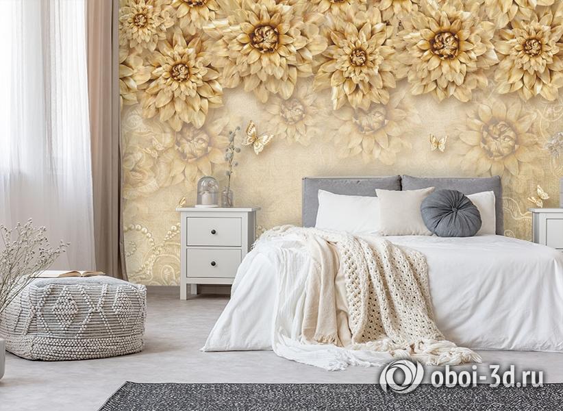 3D Фотообои «Инсталляция с золотыми цветами» вид 6
