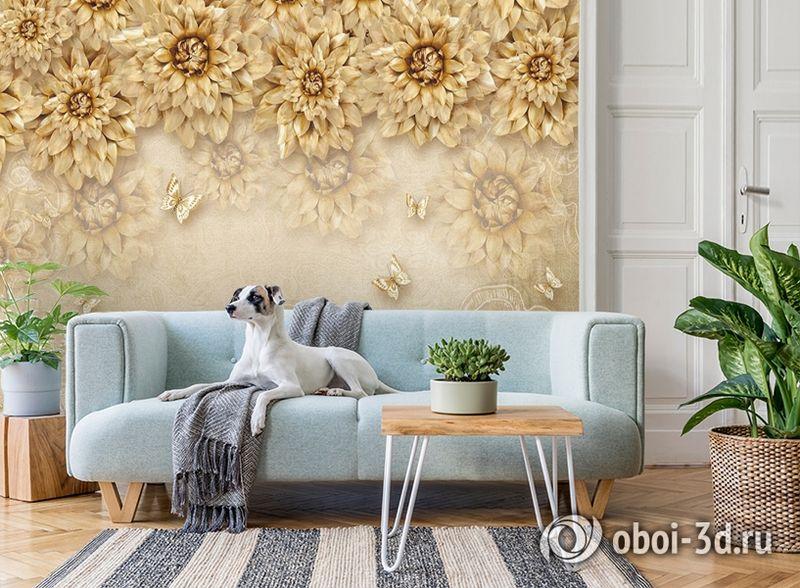 3D Фотообои «Инсталляция с золотыми цветами» вид 2