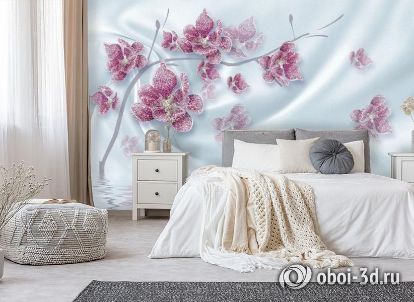 3D Фотообои «Ювелирная орхидея на шелковом фоне» вид 6