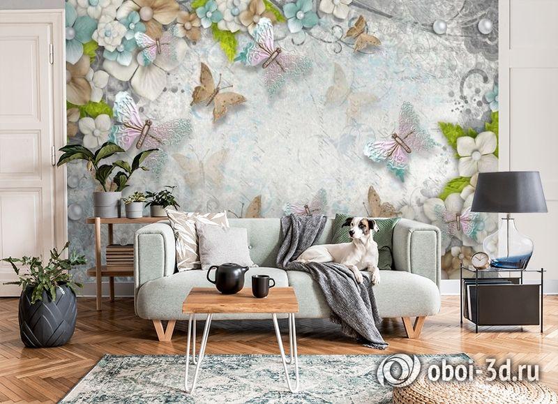 3D Фотообои «Цветы и бабочки» вид 8