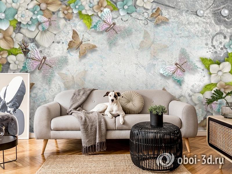 3D Фотообои «Цветы и бабочки» вид 5