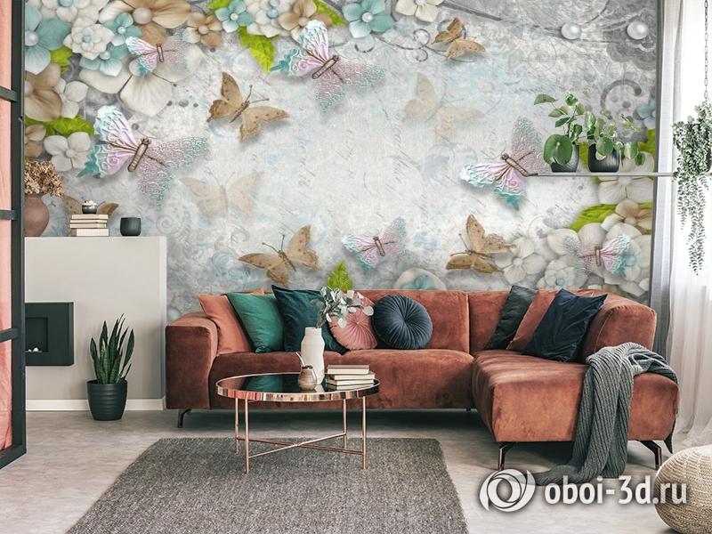3D Фотообои «Цветы и бабочки» вид 4