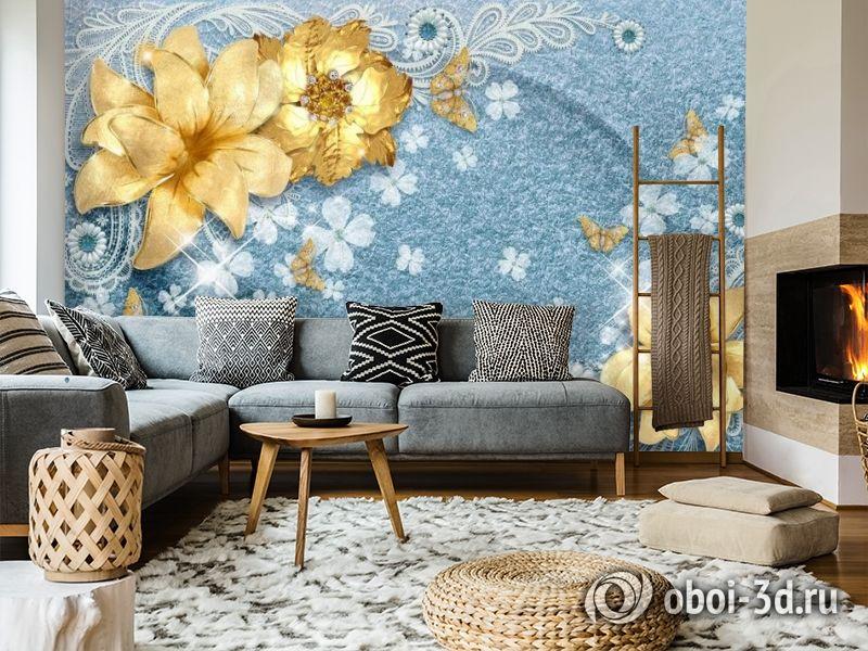 3D Фотообои «Золотые цветы с бабочками на голубой ткани» вид 7