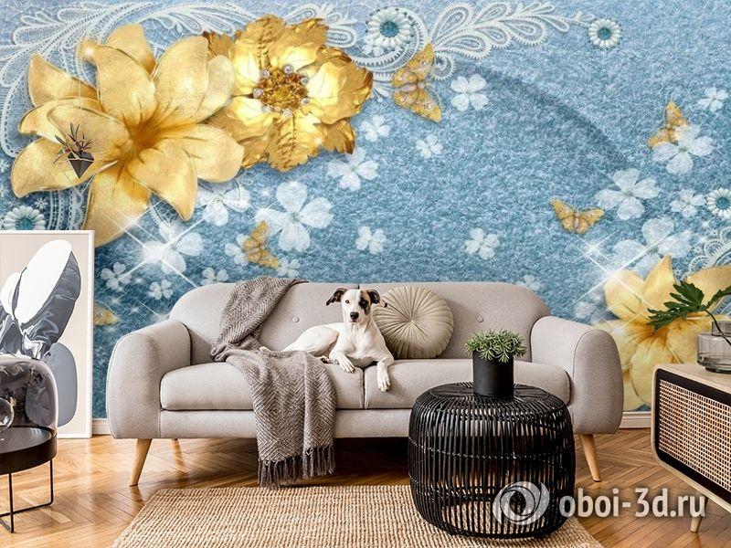 3D Фотообои «Золотые цветы с бабочками на голубой ткани» вид 5