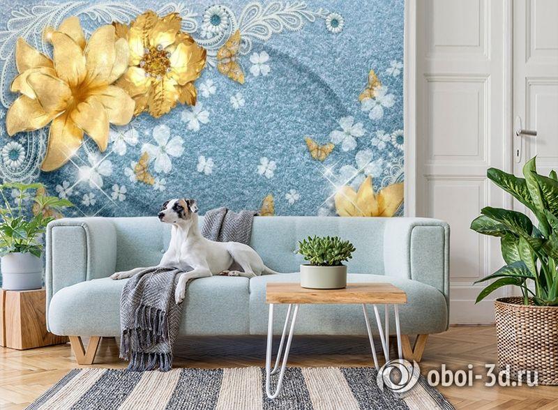 3D Фотообои «Золотые цветы с бабочками на голубой ткани» вид 2