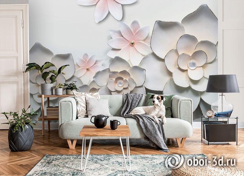 3D Фотообои «Керамические цветы» вид 8