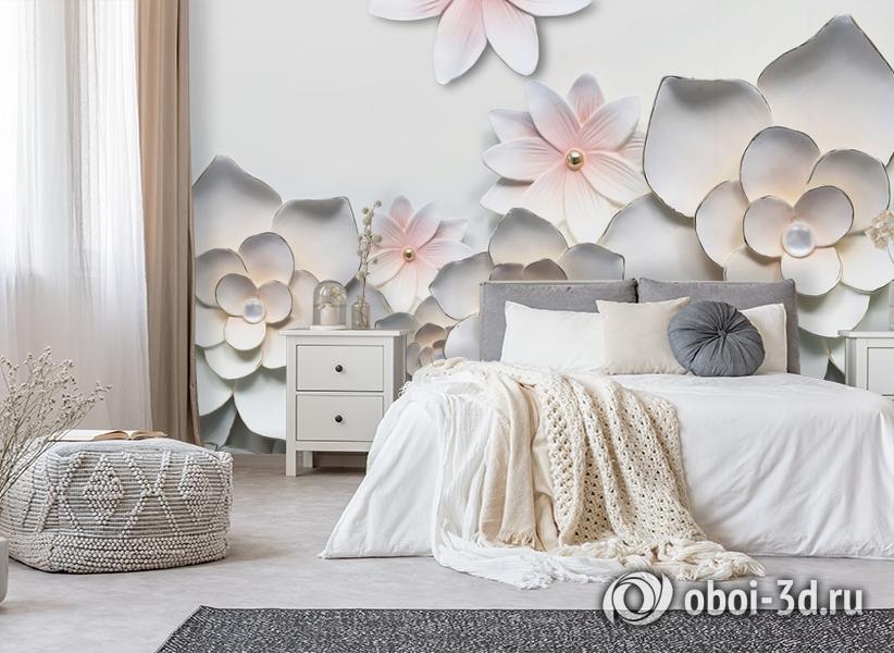 3D Фотообои «Керамические цветы» вид 6
