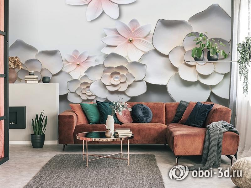 3D Фотообои «Керамические цветы» вид 4