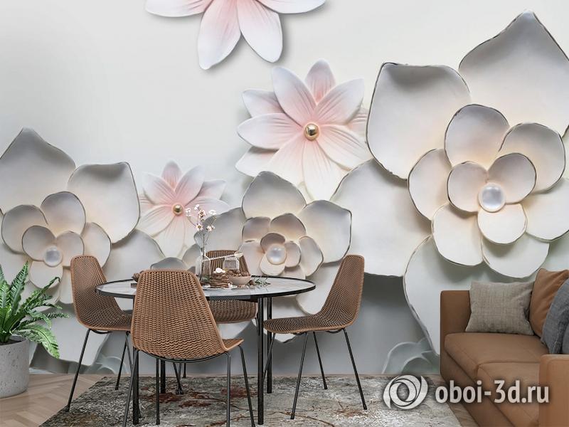 3D Фотообои «Керамические цветы» вид 3