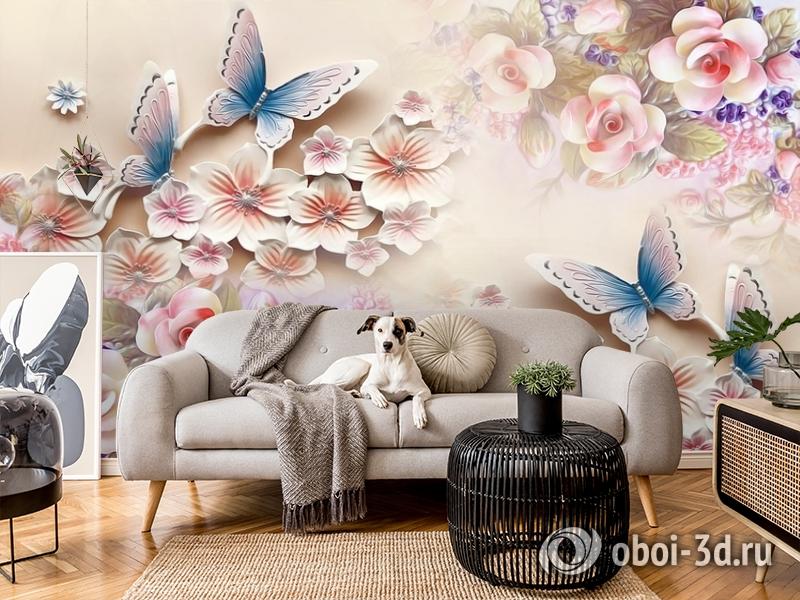 3D Фотообои «Цветочное изобилие с бабочками» вид 5