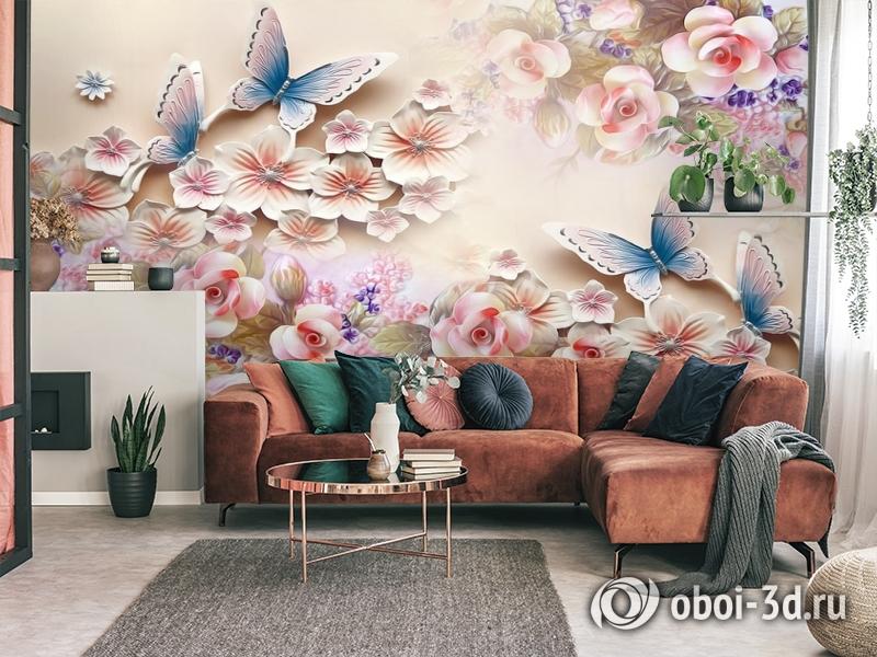 3D Фотообои «Цветочное изобилие с бабочками» вид 4