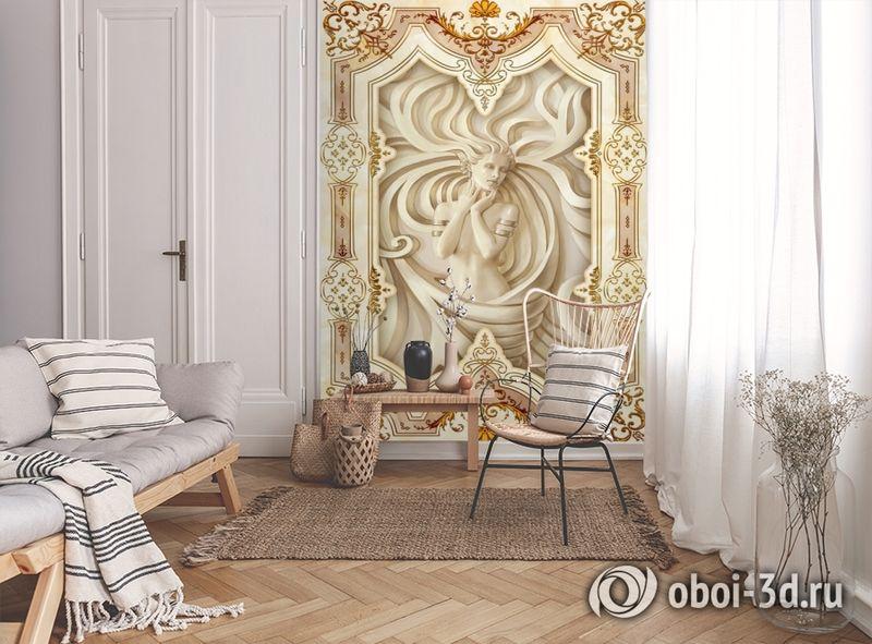 3D Фотообои «Рельефная девушка с орнаментом» вид 9
