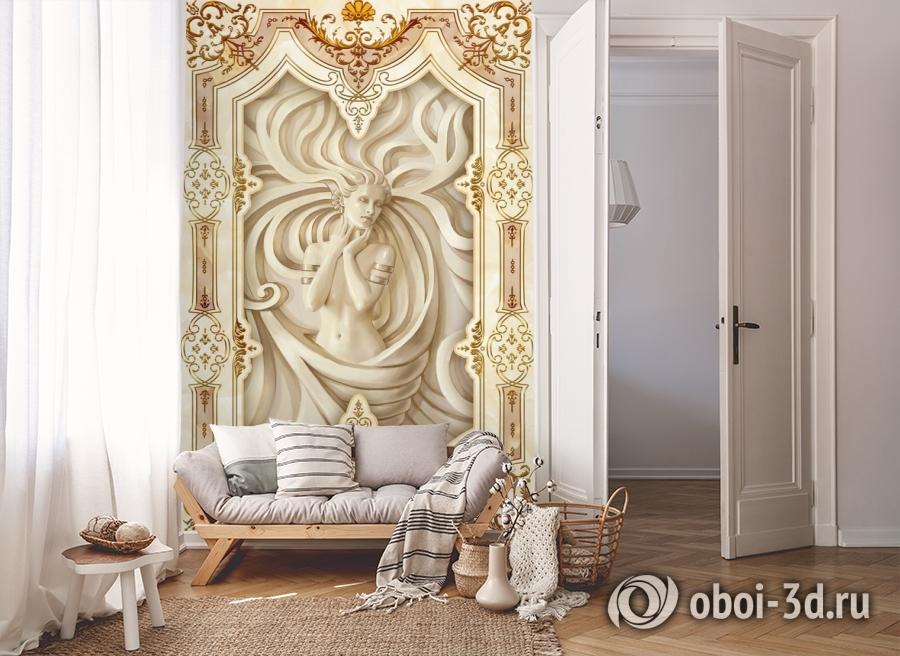 3D Фотообои «Рельефная девушка с орнаментом» вид 8