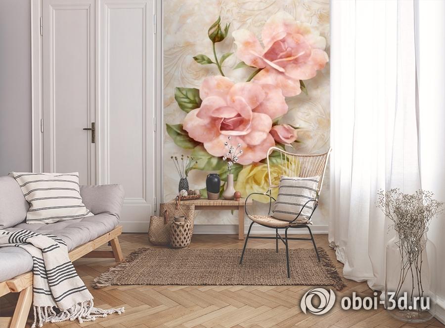 3D Фотообои «Объемные розы под мрамор» вид 9