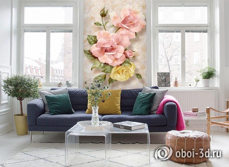3D Фотообои «Объемные розы под мрамор» вид 5