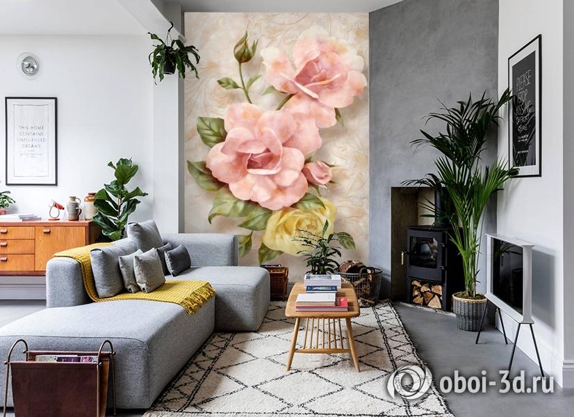 3D Фотообои «Объемные розы под мрамор» вид 2