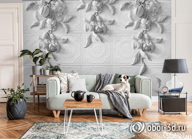3D Фотообои «Рельеф с ниспадающими цветами» вид 8