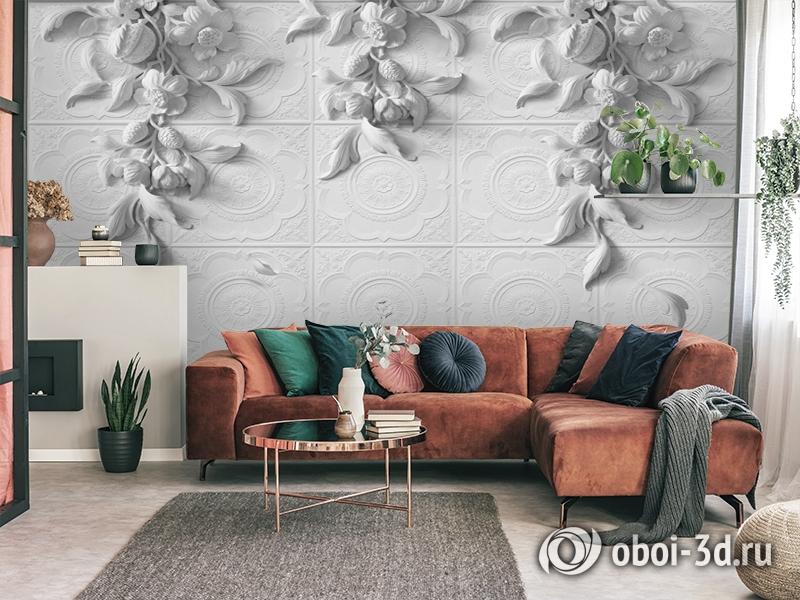 3D Фотообои «Рельеф с ниспадающими цветами» вид 4
