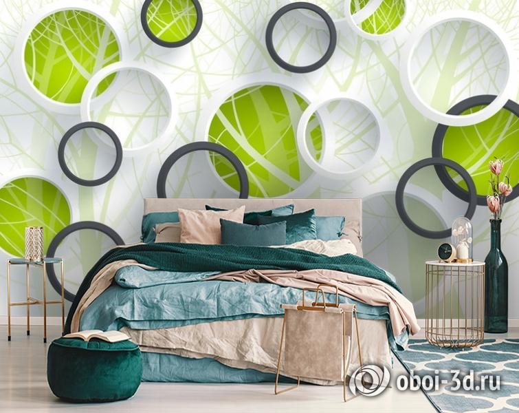 3D Фотообои «Объемные зеленые круги» вид 6