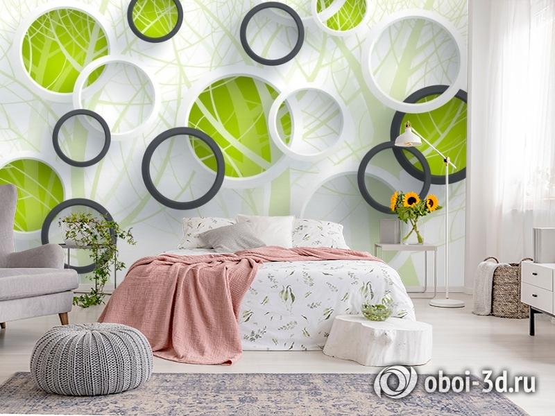 3D Фотообои «Объемные зеленые круги» вид 2