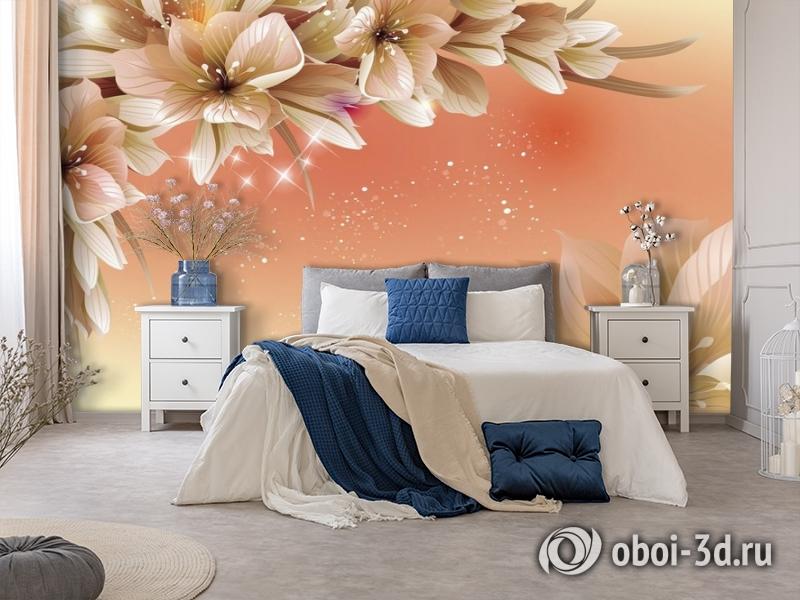 3D Фотообои «Персиковая инсталляция с цветами» вид 7