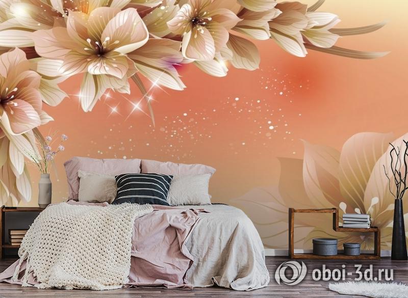 3D Фотообои «Персиковая инсталляция с цветами» вид 4