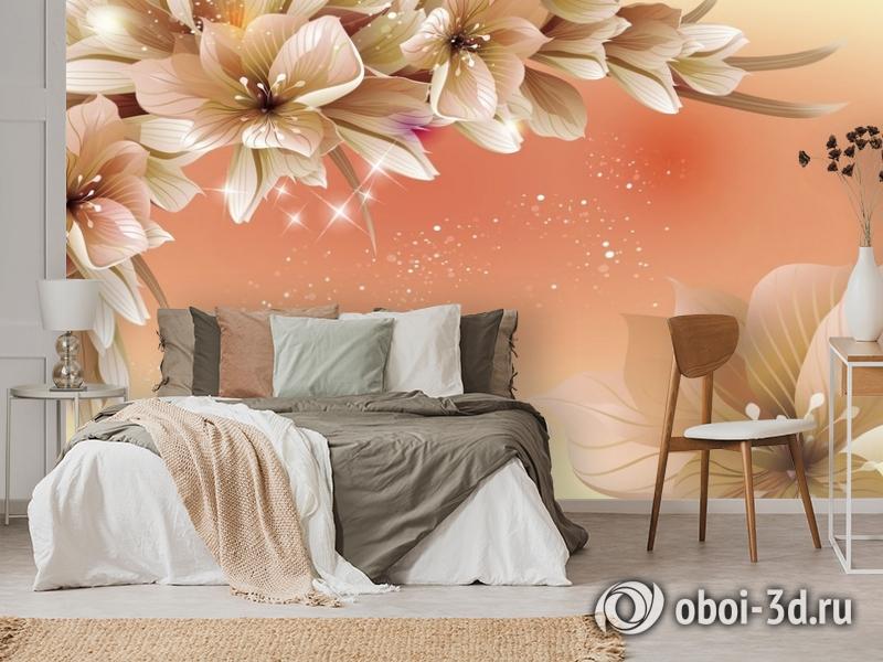 3D Фотообои «Персиковая инсталляция с цветами» вид 3