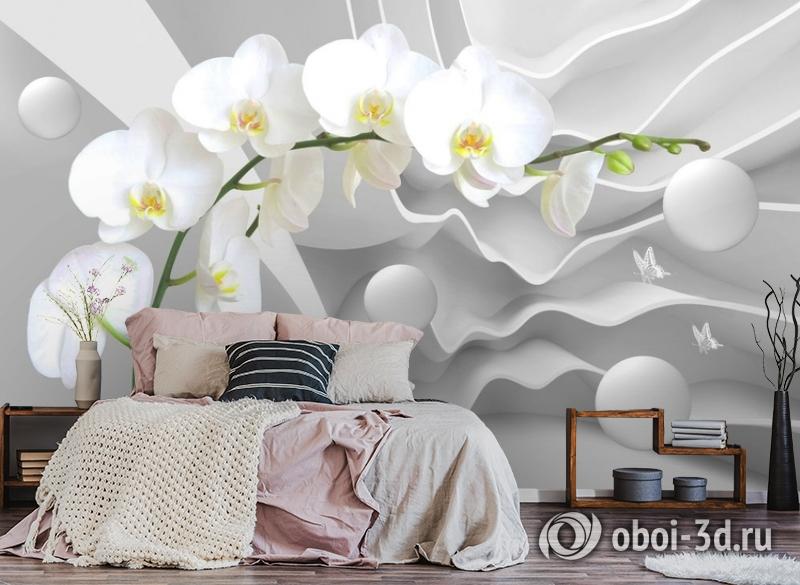 3D Фотообои «Белая орхидея на объемном фоне» вид 4