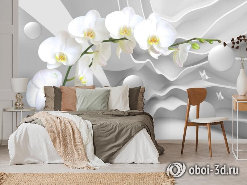 3D Фотообои «Белая орхидея на объемном фоне» вид 3