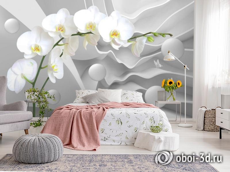 3D Фотообои «Белая орхидея на объемном фоне» вид 2