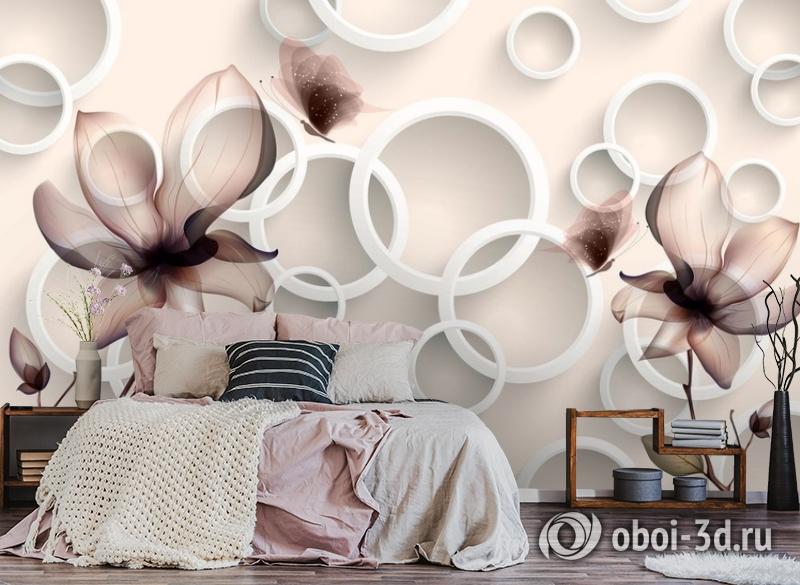 3D Фотообои «Абстрактные магнолии» вид 4