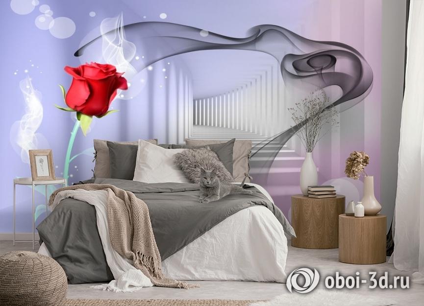3D Фотообои «Красная роза в тоннеле» вид 5