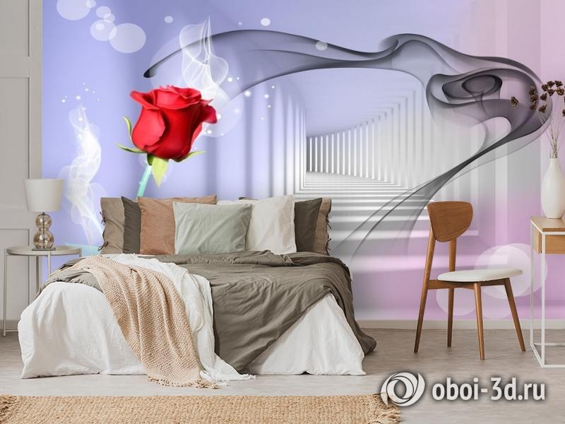 3D Фотообои «Красная роза в тоннеле» вид 3