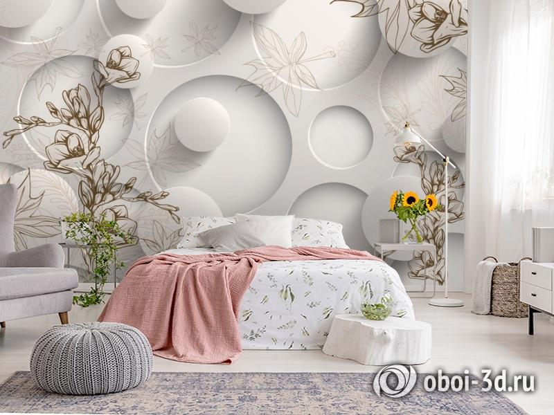 3D Фотообои «Объемные круги с цветочным узором» вид 2