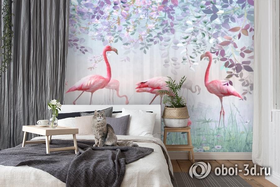 3D Фотообои «Фламинго в саду» вид 8