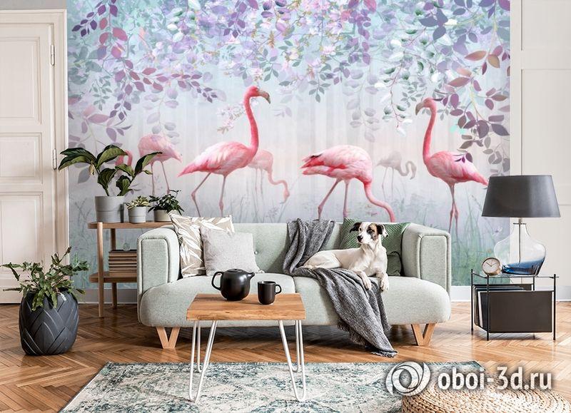 3D Фотообои «Фламинго в саду» вид 7