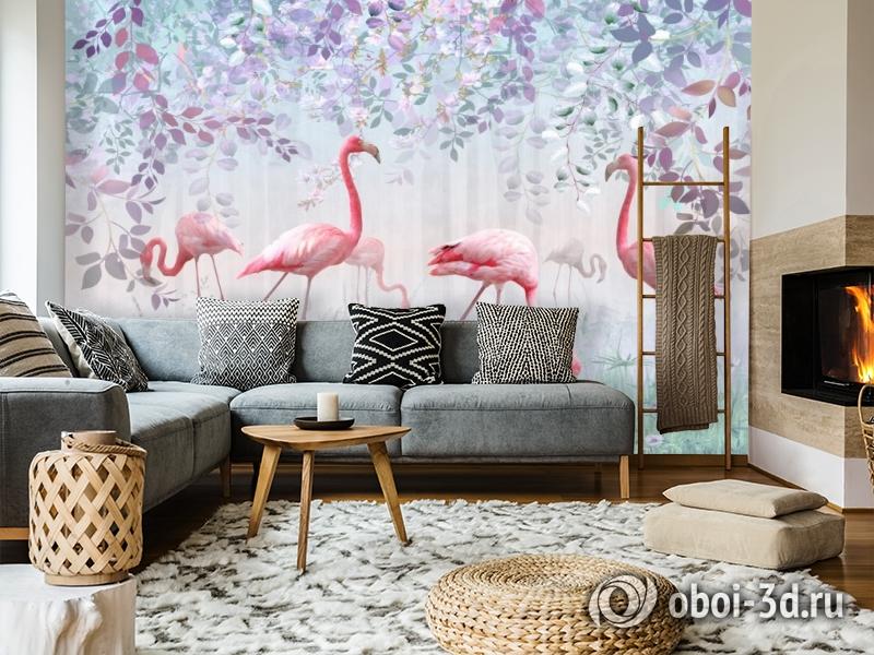 3D Фотообои «Фламинго в саду» вид 6