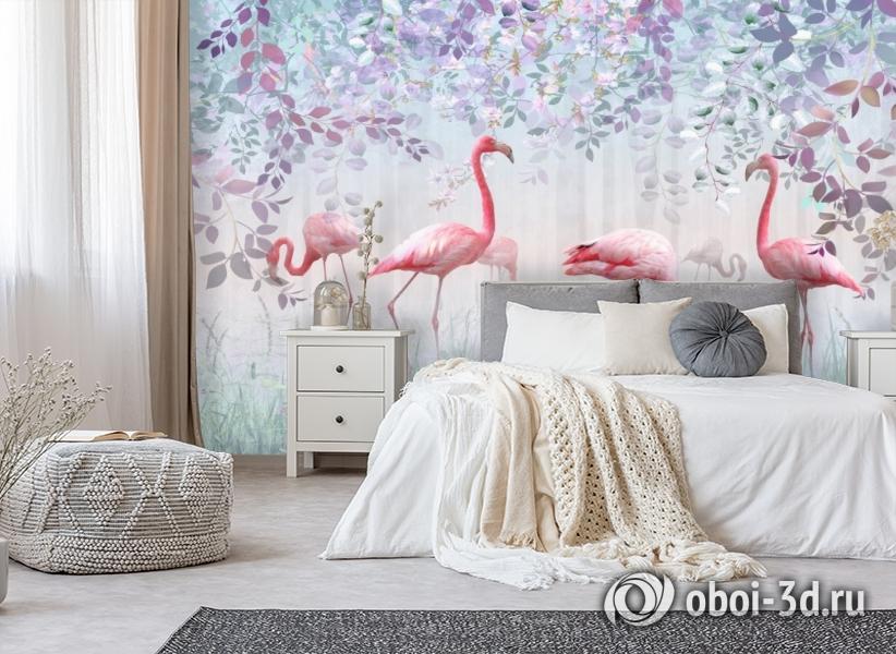 3D Фотообои «Фламинго в саду» вид 5