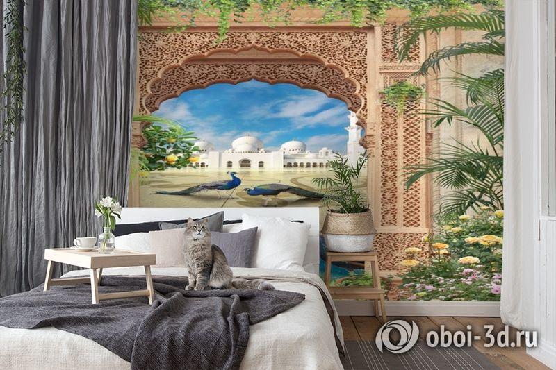 3D Фотообои «Восточная арка с павлинами» вид 7