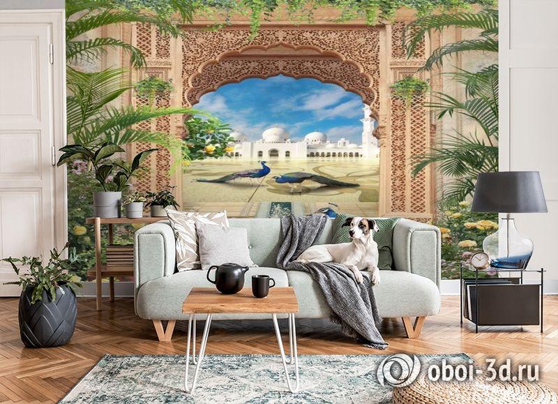 3D Фотообои «Восточная арка с павлинами» вид 6