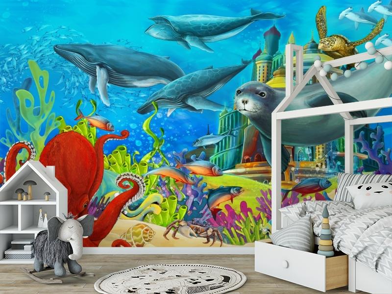 "3D Фотообои  ""Морские обитатели"" Детские вид 6"
