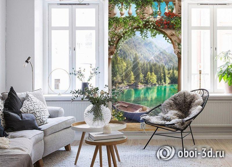 3D Фотообои «Лодочка в бирюзовом озере» вид 4