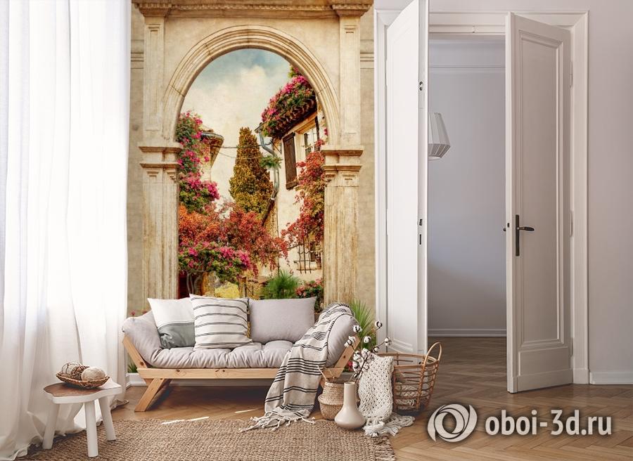 3D Фотообои «Арка в цветущем дворике» вид 8