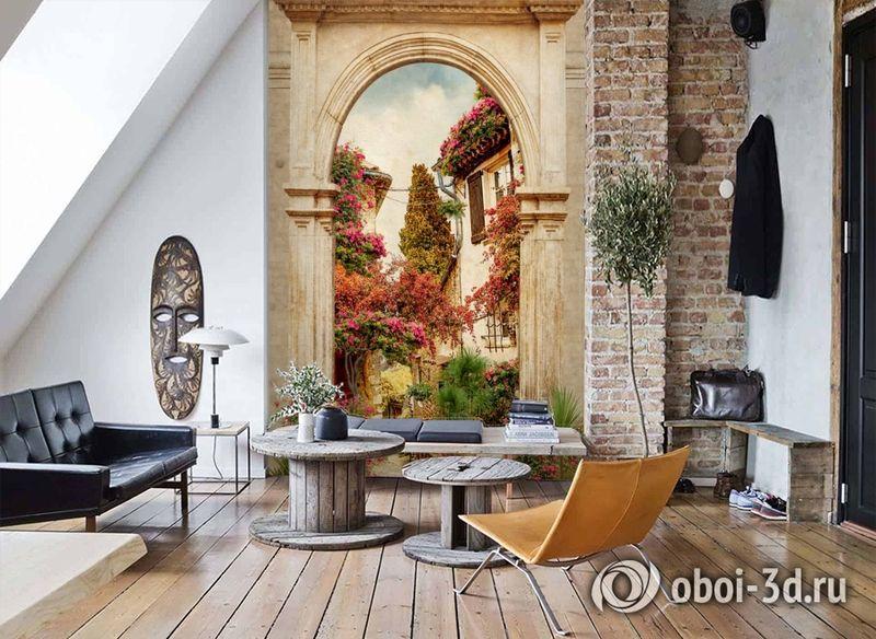 3D Фотообои «Арка в цветущем дворике» вид 7